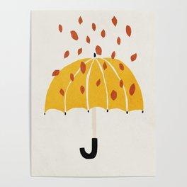 Umbrella, Autumn, Mid century modern kids wall art, Nursery room Poster
