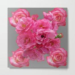 PINK ROSES CLUSTER GREY ART Metal Print
