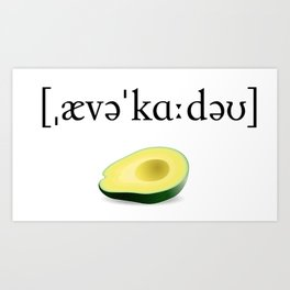 Avocado Phonetic Art Print