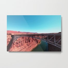 bridge over the river in the desert with blue sky in USA Metal Print