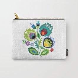 Polish Folk Art Print Aqua Carry-All Pouch