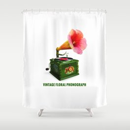 ORGANIC INVENTIONS SERIES: Vintage Floral Phonograph Shower Curtain
