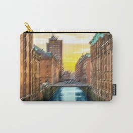 Brick Industrial Homes on the Canal, Hamburg Germany Landscape Painting by Jeanpaul Ferro Carry-All Pouch