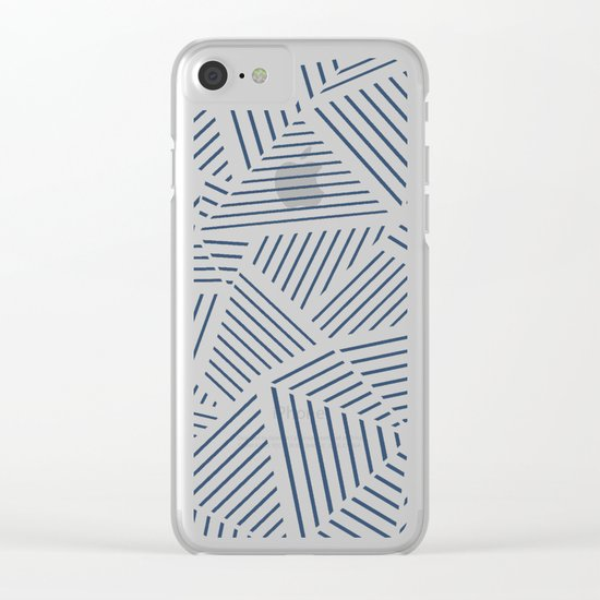 Abstraction Linear Zoom Navy Clear iPhone Case