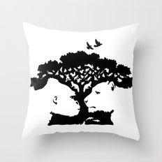 Animal Tree - black and white Throw Pillow