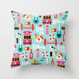 Lisbon - Lisboa Portugal travel icons souvenir illustration print Throw Pillow