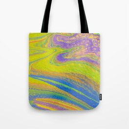 Fluid Art Acrylic Painting, Pour 33, Yellow, Blue, Purple & Green Blended Color Tote Bag