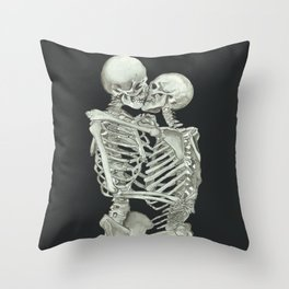 Valentine's Day Gift: Skeleton Kiss Throw Pillow