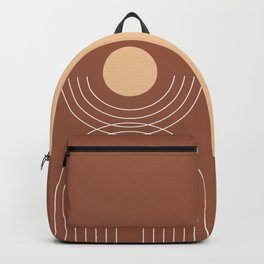 Geometric Lines in Terracotta and Beige 19 (Rainbow and Sun Abstract) Backpack