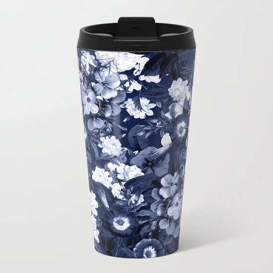 Bohemian Floral Nights in Navy Metal Travel Mug