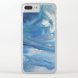 Sea Spray: Acrylic Pour Painting Clear iPhone Case