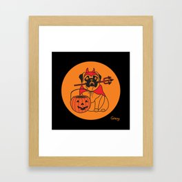 pumpkin pug Framed Art Print
