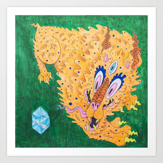 二 Curiosity (Neon Horned Tiger finds a Blue Diamond in the Green Dimension) Art Print