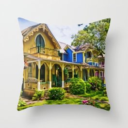 Martha's Vineyard Cottages Portrait Painting Throw Pillow