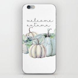 welcome autumn blue pumpkin iPhone Skin