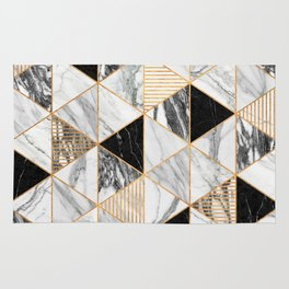 Marble Triangles 2 - Black and White Rug