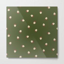 Autumn Time - acorns on green background Metal Print