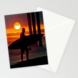 Huntington Beach Pier / Surfer Sunset Stationery Cards