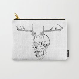 Skull With Antlers Carry-All Pouch