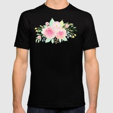 Bouquet OF flowers PINK WITH green - PAINTED - watercolor Black Mens Fitted Tee MEDIUM