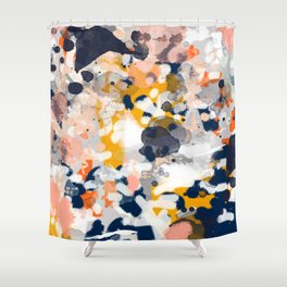 Stella - Abstract painting in modern fresh colors navy, orange, pink, cream, white, and gold Shower Curtain