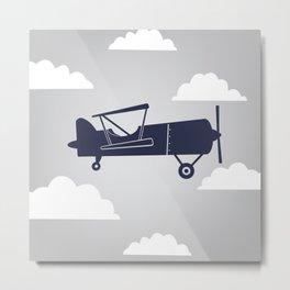 Biplane Navy/Gray Metal Print