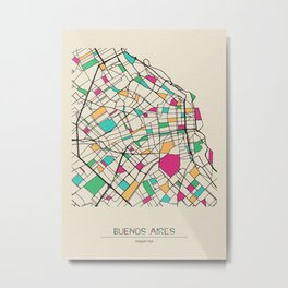 Colorful City Maps: Buenos Aires, Argentina Metal Print