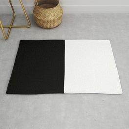 Abstract Black and White Vertical Color Block Rug