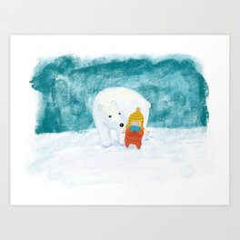 Polarbear friend Art Print