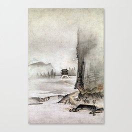 Kantei Two Views from the Eight Views of the Xiao and Xiang Rivers Canvas Print