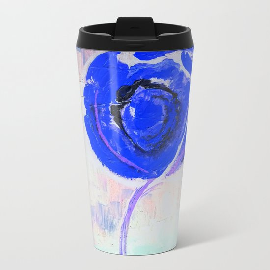 Snow Honey Silver Ice Blue Rose Metal Travel Mug