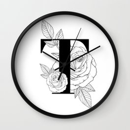 Monogram Letter T with Rose Line Art  Wall Clock