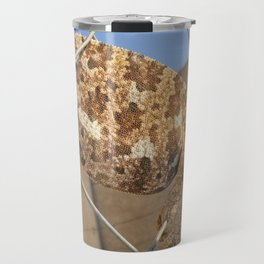 Chameleon In Shades of Brown on Fence Travel Mug