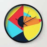 pagan Wall Clocks featuring PAGAN ANIMALS - WOLF by Atelier FP7