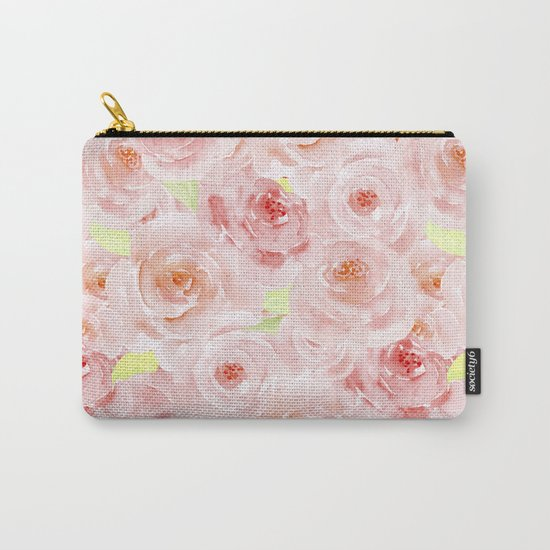 Rose pattern- Beautiful watercolor roses background Carry-All Pouch