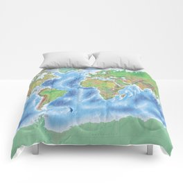 Physical world map with countries Comforters