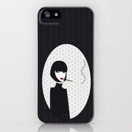Dark lady smoking iPhone Case