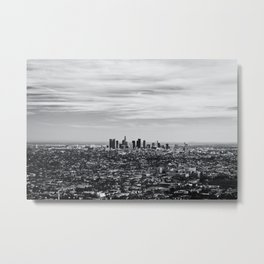 Los Angeles Skyline Black and White Metal Print