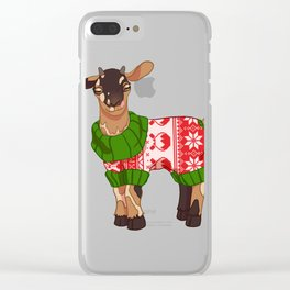 Toasted S'more Christmas Sweater Goat Clear iPhone Case