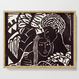Black couple embracing, African American man and woman Serving Tray