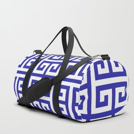 Greek Key (Navy Blue & White Pattern) Duffle Bag