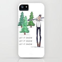 Fashion Illustration, Rustic home decor, Wall Art, Ski Lodge Decor, Ski Poster, Art Print iPhone Case