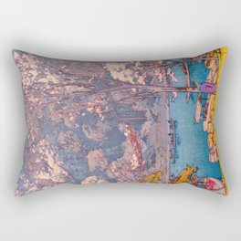 Cherry Blossoms at Arashiyama Japanese Woodblock Print Hiroshi Yoshida Rectangular Pillow