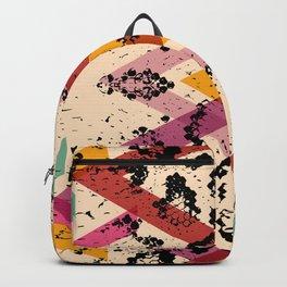 Snake skin texture. black magenta orange pink purple print Backpack