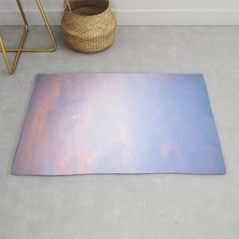 Sunset and the Moon Peeking Through the Clouds | Landscape Photography Rug