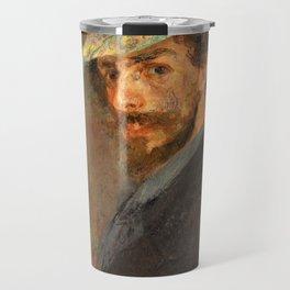 Self-portrait with flowered hat - James Sidney Edouard Baron Ensor Travel Mug