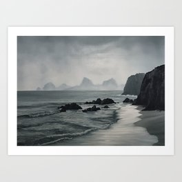 Rocky Coast - original oil painting by Sarah Lynch Art Print