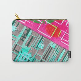 Abstract Woodcut #1 in Pink and Aqua Carry-All Pouch