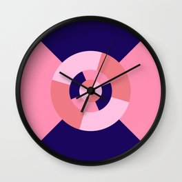 Simple geometric discs pattern pink and blue Wall Clock