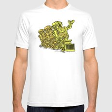 Robot Riding MEDIUM Mens Fitted Tee White